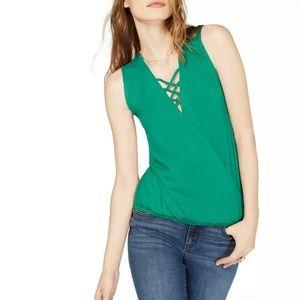 NWT INC Emerald Lace Up Surplice Tank Top